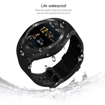 D08 Bluetooth Smart Watch Wristwatch GPS, Classical IPS Round Touch Screen Water Resistant Smartwatch Cellphone(Black) - intl Price Philippines