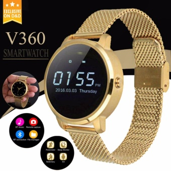 D&D V360 Unisex Bluetooth Phone Steel Belt Smartwatch forIOS/Android (Gold) Price Philippines