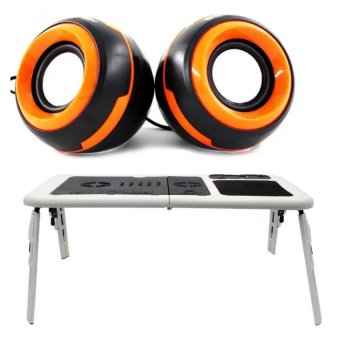 Deluxe E-Table Laptop Cooler with Ezeey Q5 Multimedia Speakers(Orange/Black)