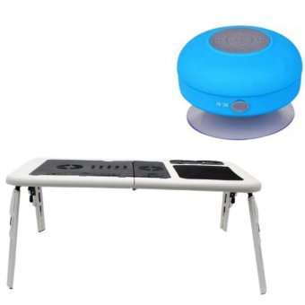 Deluxe E-Table Laptop Cooler with Silicone Bluetooth Speaker (Blue)