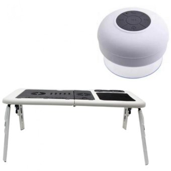 Deluxe E-Table Laptop Cooler with Silicone Bluetooth Speaker(White)
