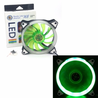 DH12025R12S 12V 3-4PIN Computer Case CPU Cooling Fan RING LED 12cm 120mm GREEN