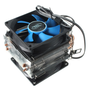 Dual Fan CPU MIni Cooler Heatsink for Intel LGA775/1156/1155 AMD AM2/AM2+/AM3 (Blue/Black)