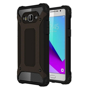 Dual Layer Case for Samsung Galaxy J2 Prime Hybrid TPU PC HeavyDuty Armor Shock Absorbing Protective Cover Black