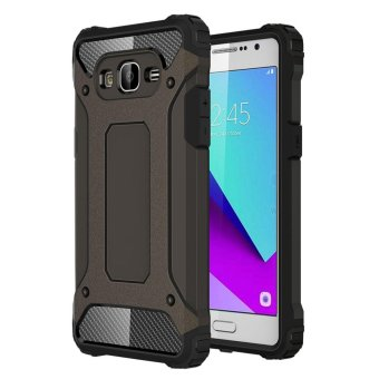 Dual Layer Case For Samsung Galaxy J2 Prime Hybrid TPU PC HeavyDuty Armor Shock Absorbing Protective Cover Brown
