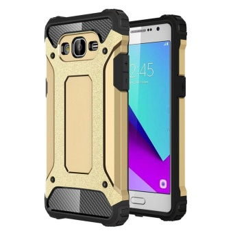 Dual Layer Case for Samsung Galaxy J2 Prime Hybrid TPU PC HeavyDuty Armor Shock Absorbing Protective Cover Gold