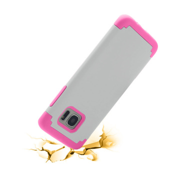 Dual Layer Protective Case Cover for Samsung Galaxy S7 Edge(White/Pink) - 2