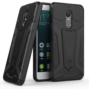 Dual Layer Robot Armor Case For Xiaomi Redmi Note 4X TPU Bumper +PC Back Hybrid Kickstand Cover Black - intl