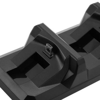 Dual USB Fast Charging Dock Stand Station Charger for PlayStation 4 PS4 Black - 4