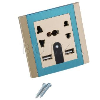 Dual USB Wall Socket With LED (Champagne And Blue)