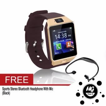 DZ-09 Smartwatch (Gold) Free (Black Sport Stereo WirelessBluetooth)