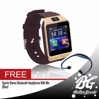 DZ-09 Smartwatch (Gold) Free (Blue Sport Stereo Wireless Bluetooth)