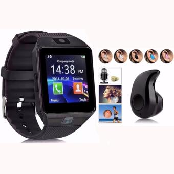 DZ09 Quad Phone Bluetooth Touch Screen Smart Watch (Black) withMini Wireless Bluetooth 4.0 Stereo In-Ear Headset Earphone Black