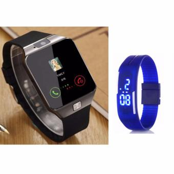 DZ09 Quad Phone Bluetooth Touch Screen Smart Watch (Silver) withLed Watch Color May Vary