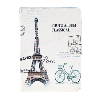 Eiffel Tower Pattern PU Leather Case for iPad 6 (White)