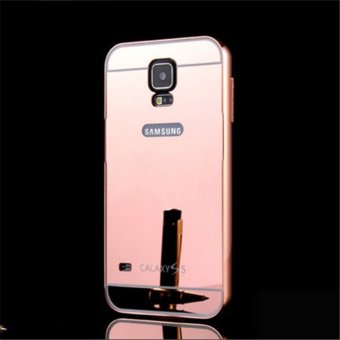 Elaike 2 in 1 Luxury Aluminum Metal Mirror PC Phone Cover Case For Samsung S5 (Rose Gold) - intl