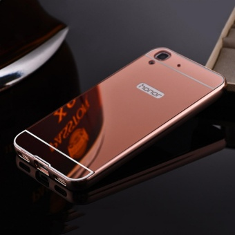 Elaike For Huawei Y6II 2 in 1 Luxury Aluminum Metal Mirror PC Phone Cover Case (Rose Gold) - intl