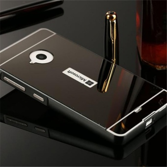 Elaike For Nokia Lumia 535 2 in 1 Luxury Aluminum Metal Mirror PCPhone Cover Case (Black) - intl