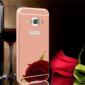 Elaike For Samsung J1 2016 2 in 1 Luxury Aluminum Metal Mirror PCPhone Cover Case (Rose Gold) - intl
