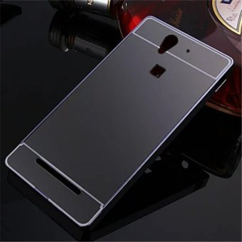 Elaike For Sony Xperia C3 2 in 1 Luxury Aluminum Metal Mirror PC Phone Cover Case (Black) - intl
