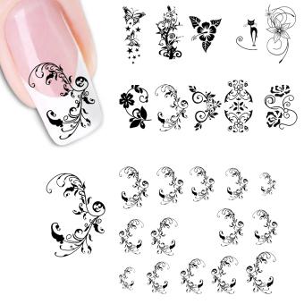 ELENXS 3D Design Nail Art Sticker (Black) - picture 2
