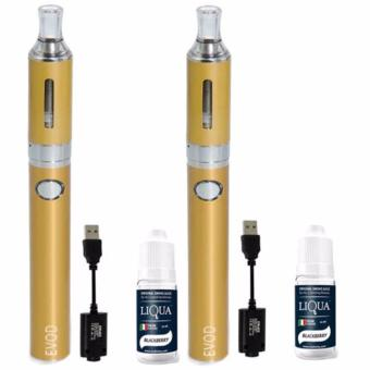 EVOD Electronic Cigarette Vape with Case (Gold) with Liqua SmokeJuice for Electronic Cigarette Set of 2