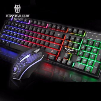 EWEADN KMX-50 Wired Gaming Keyboard and Mouse Set (Black) with FREELD LACE
