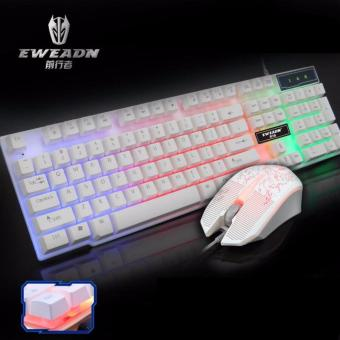 EWEADN KMX-50 Wired Gaming Keyboard and Mouse Set (White)