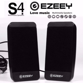EZEEY S4 Portable USB 3.5mm Multimedia Speaker for Desktop Laptop Notebook Tablet FM Radio SmartPhones PC Speaker (Black)