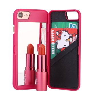 Fashion Lady Mirror Wallet Case For iphone 6 6s Leather Flip Makeup Mirror Phone Cases Card Slot Holder Stand - intl - 5