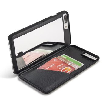 Fashion Lady Mirror Wallet Case For iphone 7 Leather Flip MakeupMirror Phone Cases Card Slot Holder Stand - intl - 2