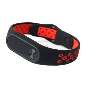 Fashion Silicone Ventilate Light Replacement Sports Wristband Strap Bracelet Smart Band Accessories for Xiaomi Mi Band 2 Red - intl