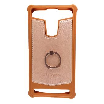 FCH Bumper Silicone Back Cover Case with Ring for Sony Xperia Z2 (Brown)
