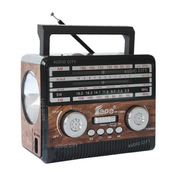 Fepe FP-1360U-BR FM/AM/SW 3 Rechargeable Band Radio with USB/SD/TFMusic Player (Brown)