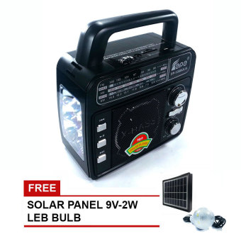 FEPE FP 3-in-1 AM/FM/SW Portable Radio with USB/SD MP3 Playback andTorchlight (Black) with FREE Solar Lighting Kit