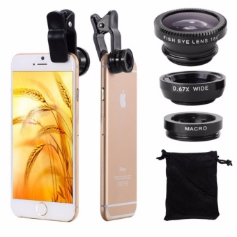 Fisheye Lens 3 in 1 mobile phone lenses fish eye +wide angle +macro camera lens for iphone 7 6s plus 5s/5 xiaomi huawei samsung - intl
