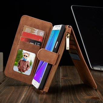 Flip Cover Leather Wallet Phone Case for Samsung Galaxy Note 5 WithCard Holder (Brwon) - intl
