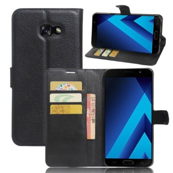 Flip Leather Wallet Cover Case For Samsung Galaxy A7 2017 (Black) - intl