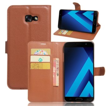 Flip Leather Wallet Cover Case For Samsung Galaxy A7 2017 (Brown) - intl