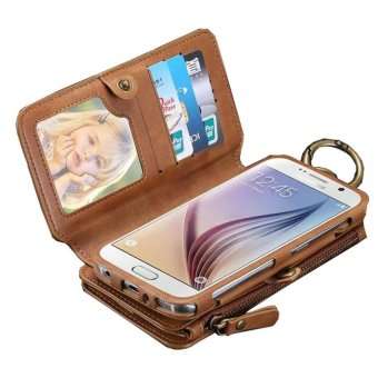 floveme Wallet Pouch Case with Card Slot For Apple iPhone 7 Plus(Brown)