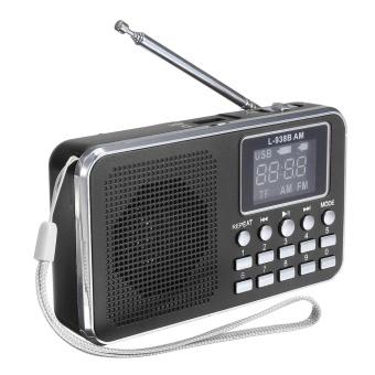 FM AM Mini Radio Digital LCD Speaker MP3 Music Player AUX USB TF with LED Light Black - intl - 2