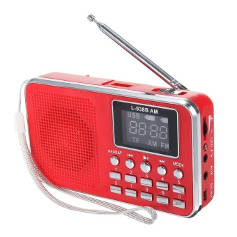 FM AM Mini Radio Digital LCD Speaker MP3 Music Player AUX USB TF with LED Light Red - intl