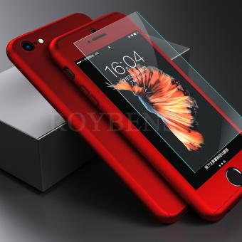 For Apple iPhone 5/5S/5SE Case 360 Full Protection Matte Hard Plastic Slim Back Cover Red - intl