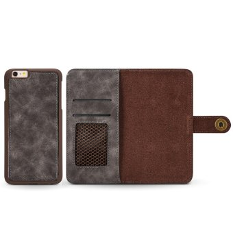 for Apple iPhone 6 Plus / 6s Plus 2in1 Stand Support + Card Slot Magnetic Buckle Vintage Cow Leather Split Cover Phone Wallet Case - intl - 2