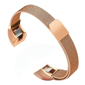 For Fitbit Alta HR and Alta Bands, Satkago Milanese StrongMagnetism Loop Clasp Replacement Slim Watchband Stainless SteelSmart Watch Strap for Fitbit Alta HR and Alta Accessory BandsRose-gold - intl