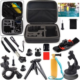 For GoPro Accessory M Size Bag+Car Pole Monopod Bike Wrist TripodMount Travel Kit for SJ4000 SJ5000 SJ6000 Gopro hero 3 4 5 - intl