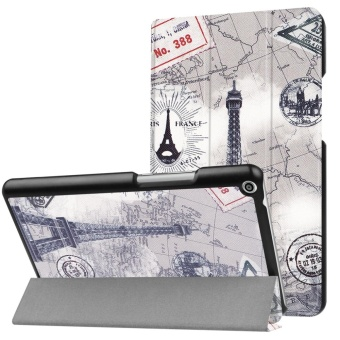 For Huawei Mediapad T3 8.0 Ultra Slim Tri-Fold PU Leather TabletCase Cover (Eiffel Tower) - intl