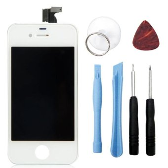 For iPhone 4S LCD Display + Touch Screen Digitizer Bezel Frame With Open Tools Replacement Part Assembly - intl