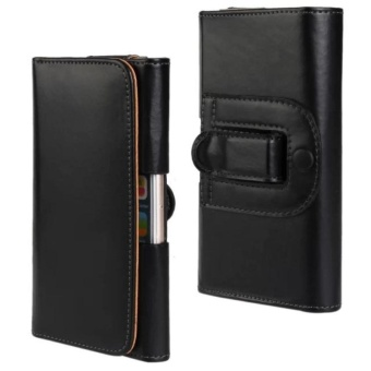 For iPhone 7 Plus PU Leather Phone Case Cover Pouch Belt WalletHolster Black - intl