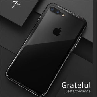 For iphone 7plus case Luxury Metal Aluminium bumper with 9HTempered Glass Back Case - intl